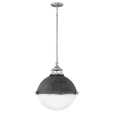 Cale 2-Light Globe Pendant Finish: Aged Zinc with Polished Nickel