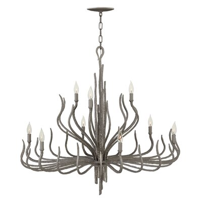 Pingree 9-Light Candle-Style Chandelier Finish: Metallic Matte Bronze