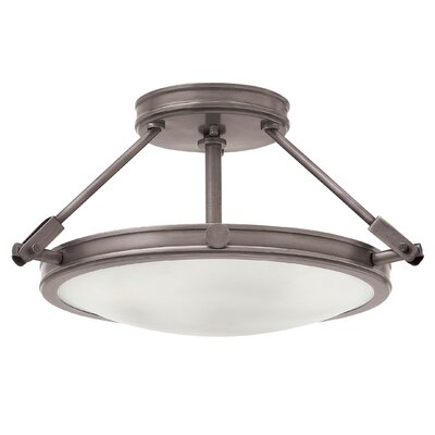 Driden 3-Light Semi Flush Mount Finish: Antique Nickel, Bulb Type: LED