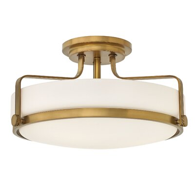 Heliotrope 3-Light Semi Flush Mount Finish: Heritage Brass, Bulb Type: LED