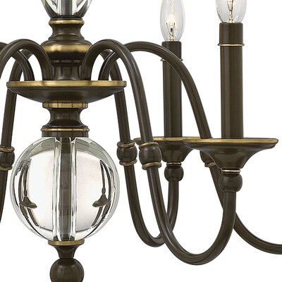 Eleanor 6-Light Candle-Style Chandelier Finish: Light Oiled Bronze