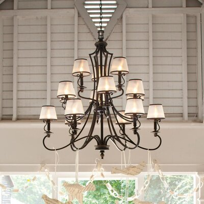 Plymouth 15-Light Candle-Style Chandelier Finish: Olde Bronze
