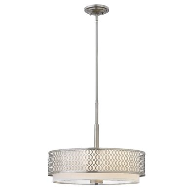 Jules 3-Light Drum Pendant Color: Brushed Nickel, Size: 18.5 H x 21 W x 21 D