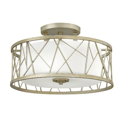 Rehberg 3-Light Semi Flush Mount Fixture Finish: Silver Leaf