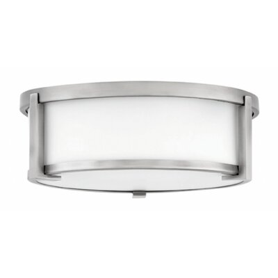 Fahey Foyer 2-Light Flush Mount Fixture Finish: Antique Nickel, Size: 4.75 H x 13.25 W x 13.25 D