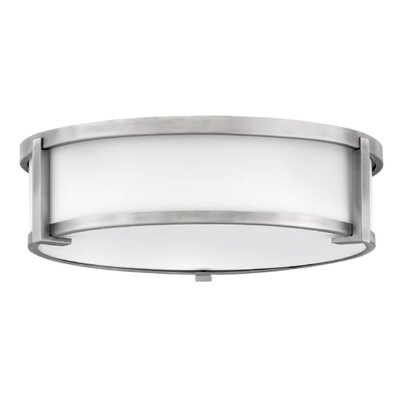 Fahey Foyer 2-Light Flush Mount Fixture Finish: Antique Nickel, Size: 4.75 H x 16 W x 16 D