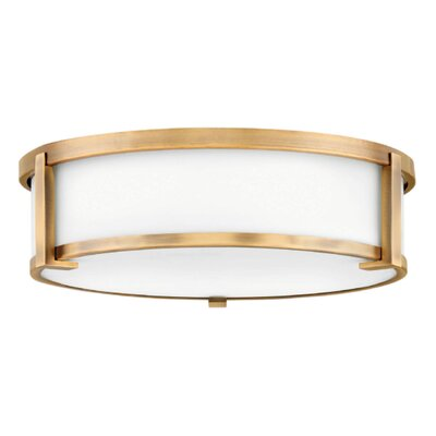 Fahey Foyer 2-Light Flush Mount Fixture Finish: Brushed Bronze, Size: 4.75 H x 16 W x 16 D