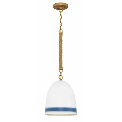 Elborough 1-Light Inverted Pendant Finish: Heirloom Brass, Shade Color: White/Navy Stripe