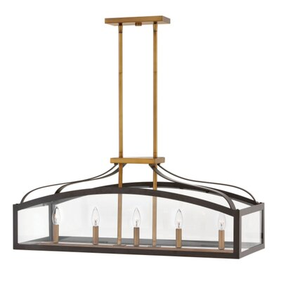 Jeremie Linear 5-Light Kitchen Island Pendant Finish: Bronze, Size: 30 H x 30 W x 15 D