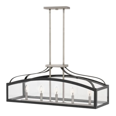 Jeremie Linear 5-Light Kitchen Island Pendant Finish: Aged Zinc, Size: 36 H x 36 W x 15 D