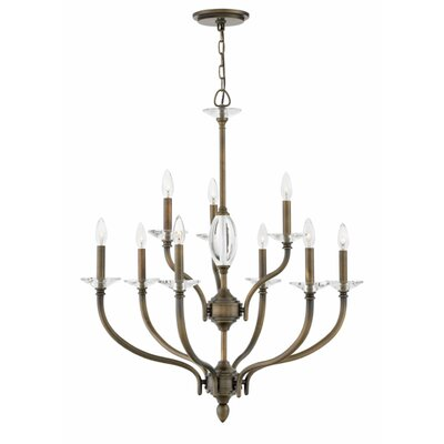 Alberty Two Tier 9-Light Candle-Style Chandelier Finish: Oiled Bronze