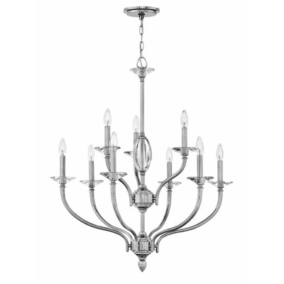Alberty Two Tier 9-Light Candle-Style Chandelier Finish: Polished Nickel