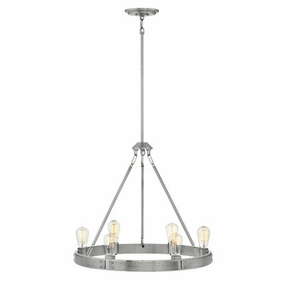 Duell Single Tier 6-Light Candle-Style Chandelier Finish: Brushed Nickel