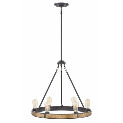 Duell Single Tier 6-Light Candle-Style Chandelier Finish: Bronze