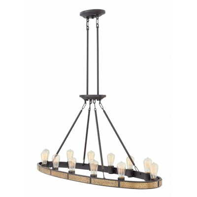Duell Linear 12-Light Candle-Style Chandelier Finish: Bronze
