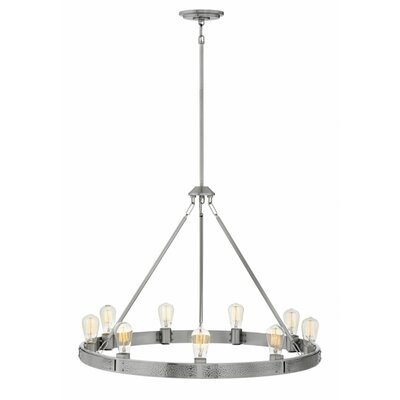 Duell Single Tier 9-Light Candle-Style Chandelier Finish: Brushed Nickel
