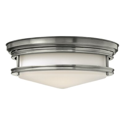 Hadley 3-Light Flush Mount Foyer Finish: Antique Nickel, Bulb Type: FSI