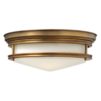Hadley 3-Light Flush Mount Foyer Finish: Brushed Bronze, Bulb Type: Incandescent