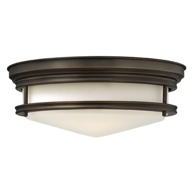 Hadley 3-Light Flush Mount Foyer Finish: Oil Rubbed Bronze, Bulb Type: FSI