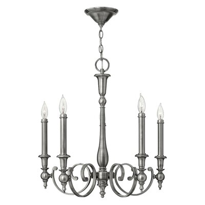 Yorktown 5-Light Candle-Style Chandelier Finish: Antique Nickel
