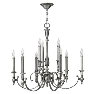Yorktown 9-Light Candle-Style Chandelier Finish: Antique Nickel