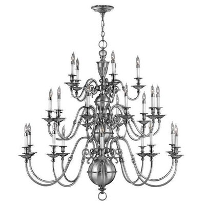 Cambridge 25-Light Candle-Style Chandelier Finish: Pewter