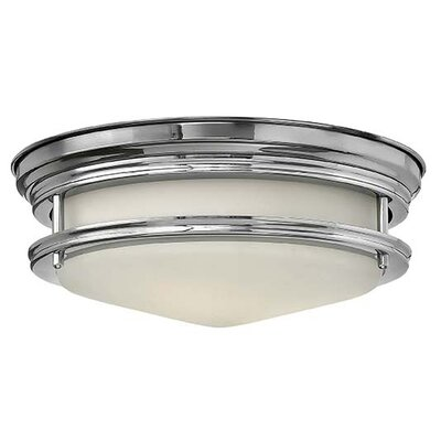 Hadley 2-Light Foyer Flush Mount Finish: Antique Nickel, Bulb Type: LED, Shade Color: White