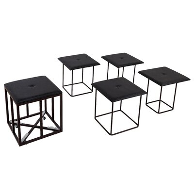 Pierro 5 Piece Nesting Ottoman Set Upholstery: Black