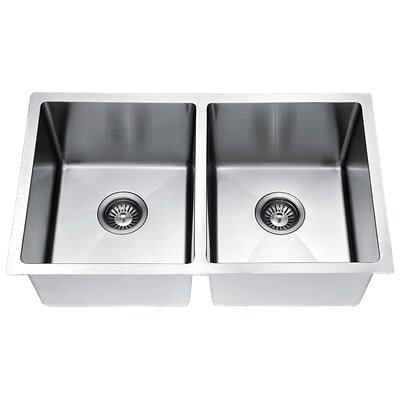 30 x 18 Small Radius Equal Double Bowl Kitchen Sink