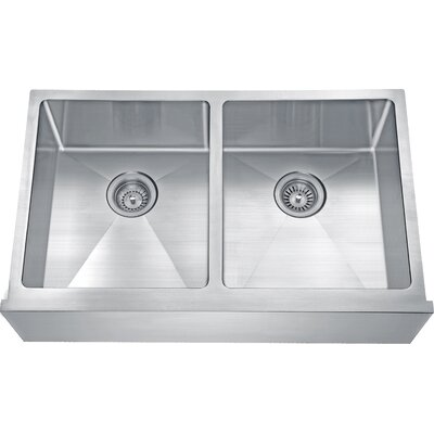 Apron 32 x 20 Double Bowl Undermount Kitchen Sink