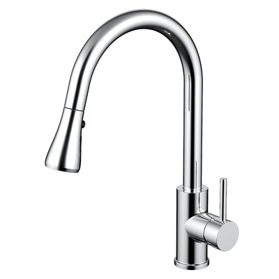 Single Handle Pull Out Kitchen Faucet with 2 Spray Settings Finish: Chrome