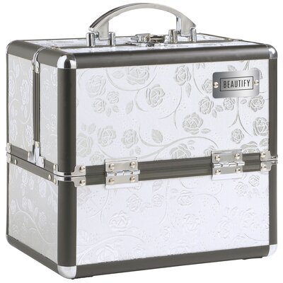Professional Aluminum Beauty Cosmetics And Makeup Travel Case Color: White