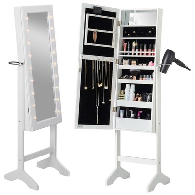 Revere Jewelry Armoire with Mirror Color: White