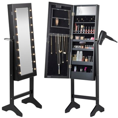 Revere Jewelry Armoire with Mirror Color: Black