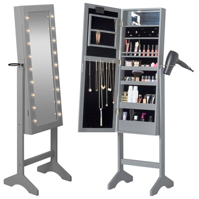 Jewelry Armoire with Mirror Finish: Gray