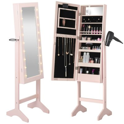 Revere Jewelry Armoire with Mirror Color: Blush Pink