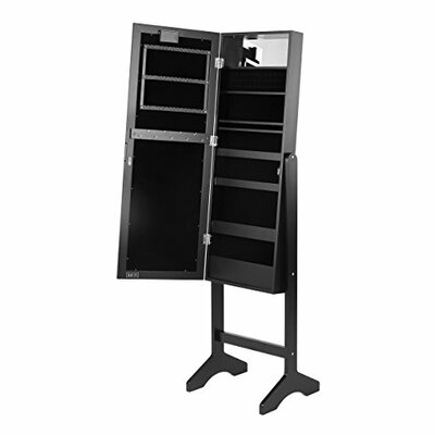 Free Standing Jewelry Armoire with Mirror Finish: Black