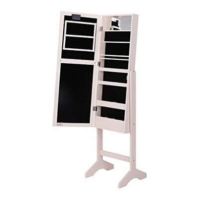 Free Standing Jewelry Armoire with Mirror Finish: Blush Pink