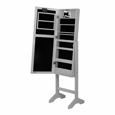 Free Standing Jewelry Armoire with Mirror Finish: Gray