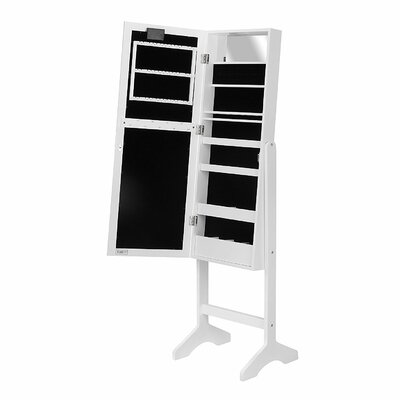 Free Standing Jewelry Armoire with Mirror Finish: White