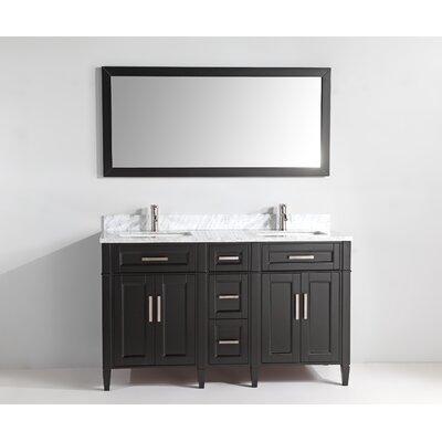60 Double Bathroom Vanity Set with Mirror Base Finish: Espresso