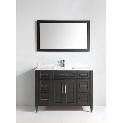 Carrara Marble 48 Single Bathroom Vanity with Mirror Base Finish: Espresso