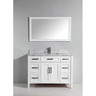 60 Single Bathroom Vanity Set with Mirror Base Finish: White