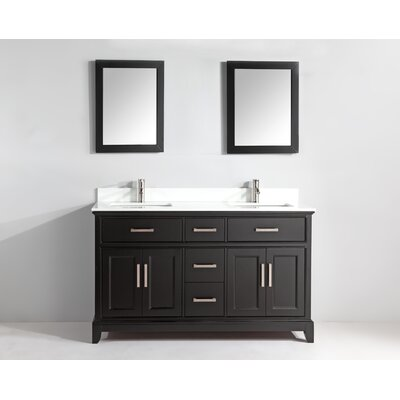 72 Double Bathroom Vanity Set with Mirror Base Finish: Espresso