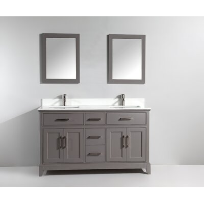 72 Double Bathroom Vanity Set with Mirror Base Finish: Gray