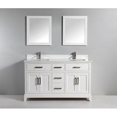 72 Double Bathroom Vanity Set with Mirror Base Finish: White