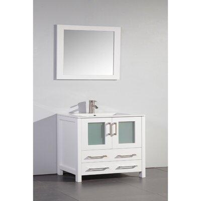 36 Single Bathroom Vanity Set with Mirror Base Finish: White