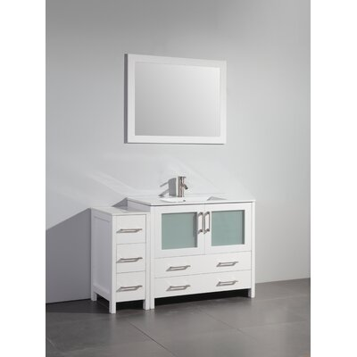 48 Single Bathroom Vanity Set with Mirror Base Finish: White