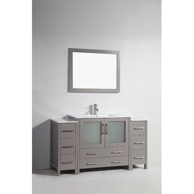 60 Single Bathroom Vanity Set with Mirror Base Finish: Gray