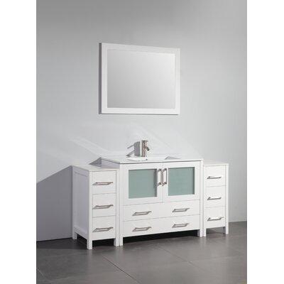 60 Single Bathroom Vanity Set with Mirror Base Finish: White